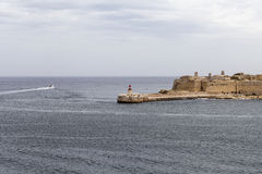 Fort Saint Elmo with lighthouse in Malta capital - Valletta Stock Photo