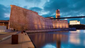 Fort Saint Jean in Marseille. Old port, France static image with animated sky and water stock footage