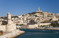 Fort Saint-Jean and old port of third largest city in France, Marseille, Provence, France on the Mediterranean Sea Royalty Free Stock Photo