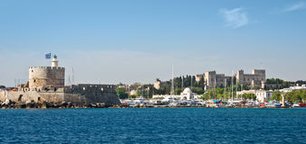 Fort Saint Nicholas, harbour of Rhodes Stock Images