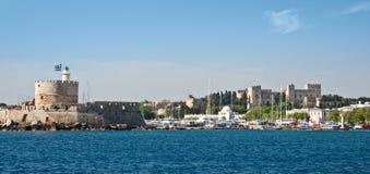 Fort Saint Nicholas, harbour of Rhodes Stock Images
