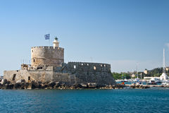 Fort Saint Nicholas, harbour of Rhodes Royalty Free Stock Image