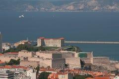 Fort Saint-Nicolas, Palais du Pharo and sea. Marseille, France stock images