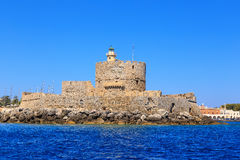 Fort Saint Nicolas Rhodes, Summer in Greece sunny Stock Images