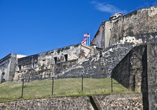 Fort San Cristobal, San Juan, Puerto Rico. Castillo San Cristóbal stands guard at the eastern gate, the land entrance, to the walled city of Old San Juan stock images