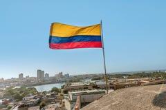 Fort San Felipe in oude stad Cartagena, Colombia stock afbeeldingen