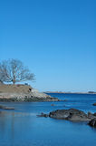 Fort Sewell, Marblehead, MA. View of Fort Sewell, Marblehead, MA from across the water on a clear spring day stock image