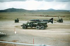 Fort Sill, Oklahoma Artillery range 1965. Douglas Honest John rocket. A U.S. Army Douglas Honest John Rock of the 32nm Field Artillery Regiment on the Fort Sill royalty free stock photo