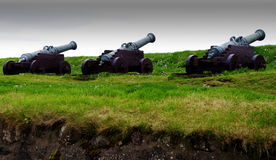 Fort Skansin cannons - Faroe Islands. The three cannons of Fort Skansin from the 1700's (King Frederik of Denmark stock image