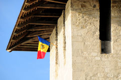 Fort in Soroca, Republic of Moldova. Moldova flag. Architectural details of medieval fort in Soroca, Republic of Moldova. Moldova flag Royalty Free Stock Photography
