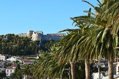 Fort 'spanjola 'i den Hvar staden arkivbilder