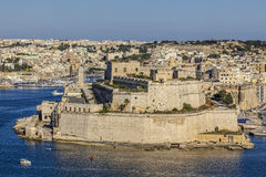 Fort St. Angelo. A close-up view of Fort St. Angelo in the Grand Harbour in Malta, as seen from Upper Barrakka Stock Photography