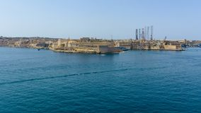 Fort St Angelo in Birgu Malta. View from Valletta horizontal photography Royalty Free Stock Image