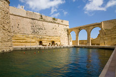 Fort St. Angelo, Malta. The back of the fort St. Angelo in the city of Birgu or Vittoriosa, one of the so-called three cities of Malta Stock Image