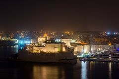 Fort St. Angelo, Malta. Big fortress Fort St. Angelo in Il-Birgu, Malta Stock Photo