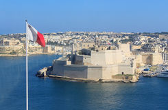Fort St. Angelo, Malta, with flag. Part of Grand Harbour Royalty Free Stock Images