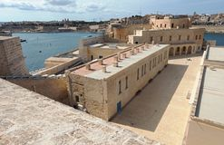 Fort St. Angelo in Malta. Fort Saint Angelo Malta. View from the Fort`s cavalier Royalty Free Stock Image