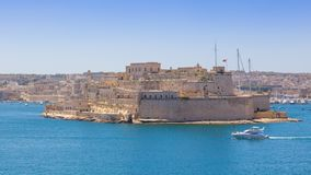 Fort St Angelo in Malta. The mighty Fort St Angelo dominates Grand Harbour of Valetta, Malta Royalty Free Stock Images