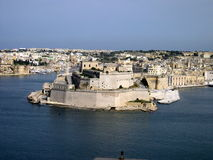 Fort St Angelo, Valletta, Malta. The ancient fort of St Angelo built by the Knights Templar stands in the middle of the Grand Harbour, Valletta, Malta stock photo