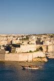 Fort St. Angelo, Vittoriosa. The Fort St. Angelo seen from La Valletta with sailboat, Malta Stock Photos