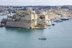 Fort St Angelo, Vittoriosa on the Grand Harbour, Malta. A view of Fort St. Angelo situated at Vittorriosa, in the Grand Harbour, Maltarn Stock Photo