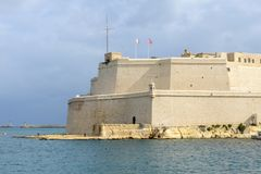 Fort St. Angelo, in Vittoriosa, Malta. In the center of the Grand Harbor Stock Images
