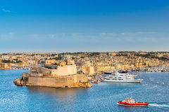 Fort St Anton in Vittoriosa Valletta. Looking across the Grand Harbour of Valletta Stock Images