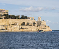 Fort St. Elmo at the entrance to the Grand Harbour at Valletta on Malta. Royalty Free Stock Images