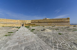 Fort St. Elmo Valletta Malta. Wide angle view on the walls of fort St. Elmo. It is the most famous fort in Malta, built at the end of the peninsula Royalty Free Stock Image