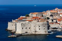 Fort of St. John in Dubrovnik, Croatia,. Dates back to the 16th century, guards the entrance to Dubrovnik`s Old Harbor stock images