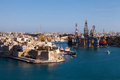 Fort St Michael, Grand Harbour, Malta. Fort St Michael and shipyard, Grand Harbour, Malta, viewed from Valletta Royalty Free Stock Photo
