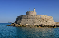 Fort of St. Nicholas  in Mandaki Harbor, Rhodes Royalty Free Stock Photos