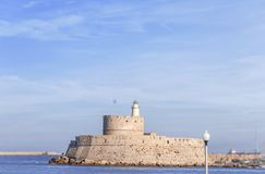 Fort of St. Nicholas Rhodes at Rhodes city on Greek island stock image