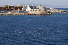 Fort of St. Nicholas Rhodes at Rhodes city, view from Harbor. royalty free stock photo