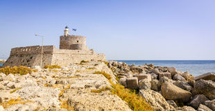 Fort of st. Nicholas in Rhodes harbor Royalty Free Stock Image