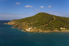 Fort at St. Thomas. A an old stone fort at the base of a hill in St. Thomas, USVI Royalty Free Stock Image