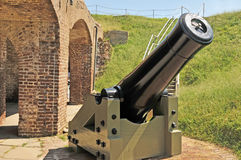 Fort Sumter:  Columbiad Mortar. This banded Columbiad fires a solid or exploding ten inch shell and is aimed at a Confederate battery on a peninsula south of Stock Image
