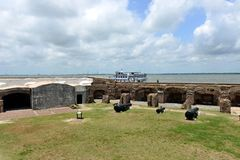 Fort Sumter. An overview of inside of the Fort Sumter -- the starting place of the America Civil War. The fort is located at the entrance to Charleston Harbor Stock Photo