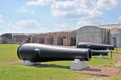 Fort Sumter: Rodman Cannon & vapensidohängda fönster Arkivfoton