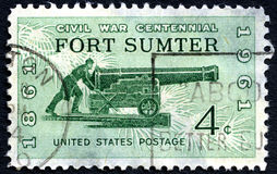Fort Sumter US Postage Stamp. UNITED STATES OF AMERICA - CIRCA 1961: A used postage stamp from the USA depicting commemorating the first battle of the American Stock Image