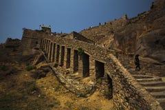 Fort supérieur de Golconda de vue arrière de section, Hyderabad Photographie stock libre de droits