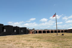 Fort taylor courtyard and flag Royalty Free Stock Photography