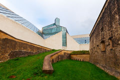 Fort Thuengen and Museum for Modern Art -MUDAM- on Kirchberg plateau in Luxembourg City Stock Photos
