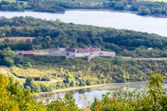 Fort Ticonderoga as viewed from Mount Defiance. Near the southern end of Lake Champlain Royalty Free Stock Photo