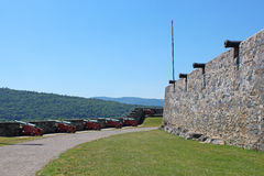 Fort Ticonderoga. Formerly Fort Carillon, is a large 18th-century star fort built by the French at a narrows near the south end of Lake Champlain in upstate Royalty Free Stock Images