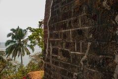 Fort Tiracol Ściana forteca goa indu zdjęcia royalty free