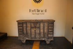 Fort Tiracol Drewniana klatka piersiowa, Goa indu fotografia stock
