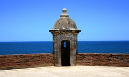 Fort Tower. Tower at a historic fort, Old San Juan, Puerto Rico Stock Image