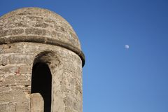 Fort Tower with Moon Stock Photos
