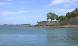 Fort Tower and Ocean. Historic fort on the waterfront at Old San Juan, Puerto Rico Stock Image